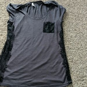Grey top with black lace